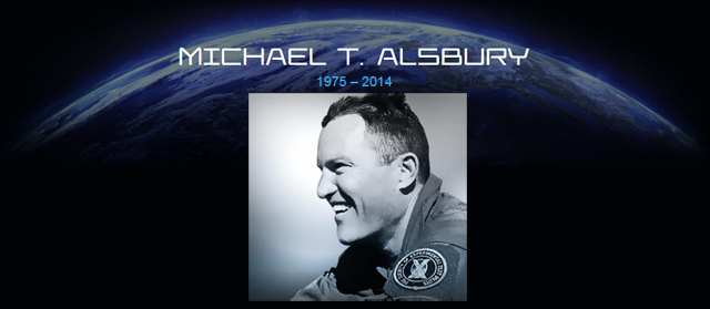 Michael Alsbury head shot, superimosed over an image of the moon - 1975-2014