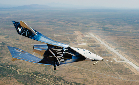 Spaceshiptwo VSS Unity above Spaceport America