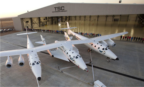 WhiteNightTwo with SpaceShipTwo outside the new hanger